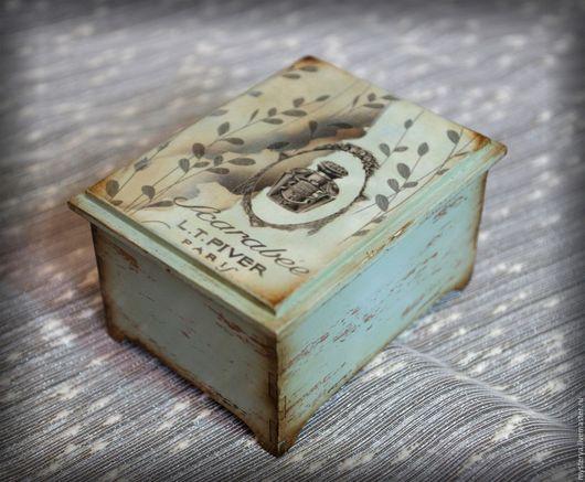"""Шкатулки ручной работы. Ярмарка Мастеров - ручная работа. Купить Шкатулка деревянная """"Дачный шик"""". Декупаж, голубой, коричневый. Handmade."""