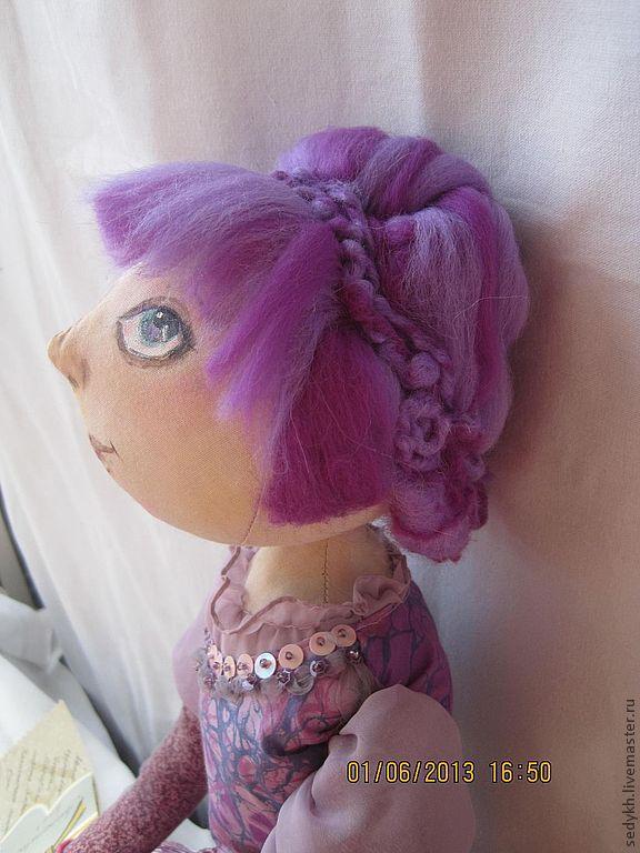 Коллекционные куклы ручной работы. Ярмарка Мастеров - ручная работа. Купить интерьерная текстильная кукла. Handmade. Сиреневый, авторская кукла