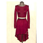 Платья ручной работы. Ярмарка Мастеров - ручная работа Бордовое шёлковое платье со шлейфом. Handmade.