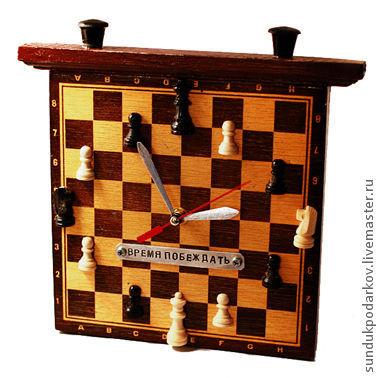 Часы для дома ручной работы. Ярмарка Мастеров - ручная работа. Купить Часы «Шахматы». Handmade. Часы, подарок мужчине