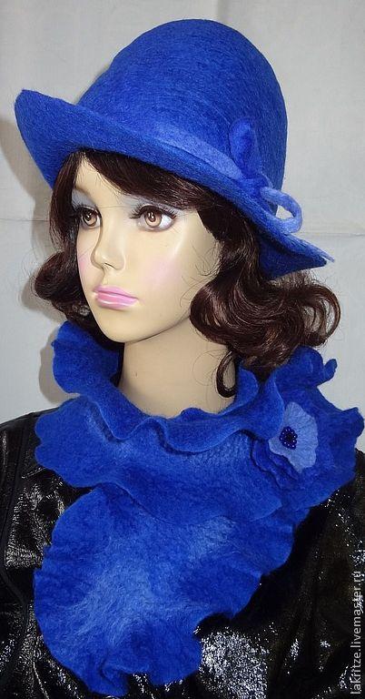 """Шляпы ручной работы. Ярмарка Мастеров - ручная работа. Купить Комплект """"Ультра-васильковая мечта"""".. Handmade. Синий, цветок-брошь"""