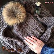 Аксессуары handmade. Livemaster - original item Taupe set of hat and cowl