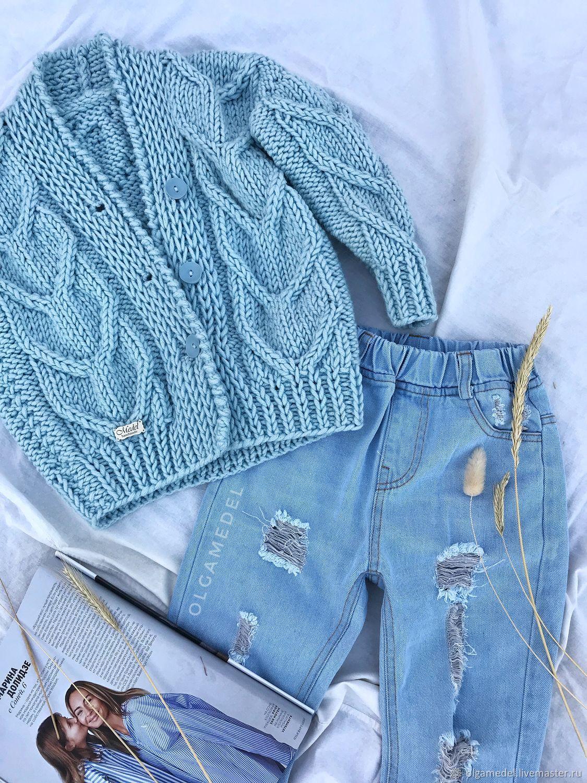 Textured children's cardigan in blue color unisex, Sweater Jackets, Yoshkar-Ola,  Фото №1