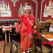 Пальто ручной работы. Ярмарка Мастеров - ручная работа Летнее красное стеганое пальто оверсайз  Пэчворк Большой размер. Handmade.