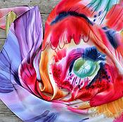"""Аксессуары ручной работы. Ярмарка Мастеров - ручная работа Шелковый платок """"Яркий мак"""". Handmade."""