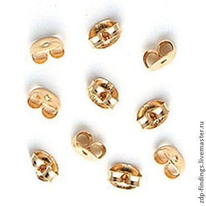 Для украшений ручной работы. Ярмарка Мастеров - ручная работа. Купить 20 gold filled позолоченных заглушек для пуссет  (EBGF). Handmade.