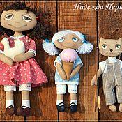 Куклы и игрушки ручной работы. Ярмарка Мастеров - ручная работа Девочки и кот. Handmade.
