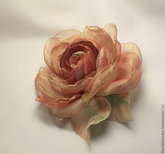 """Броши ручной работы. Ярмарка Мастеров - ручная работа. Купить Шифоновая роза """"Охра"""". Handmade. Цветы из ткани, охра, шифон"""