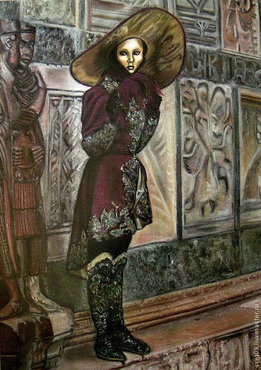 Люди, ручной работы. Ярмарка Мастеров - ручная работа. Купить Венецианка. Handmade. Венецианский карнавал, портрет девушки, золотой