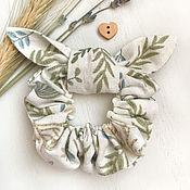 Украшения handmade. Livemaster - original item Linen elastic band for hair, print-river park. Handmade.