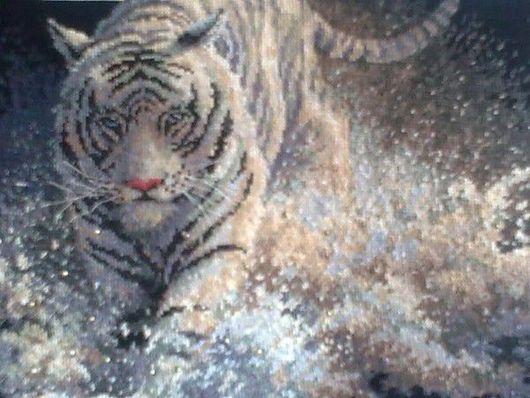 Животные ручной работы. Ярмарка Мастеров - ручная работа. Купить белый тигр. Handmade. Мулине дмс (dms)