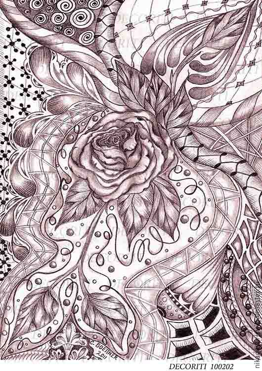 Декупаж и роспись ручной работы. Ярмарка Мастеров - ручная работа. Купить Монохром - роза (D100202) - рисовая бумага, А4. Handmade.