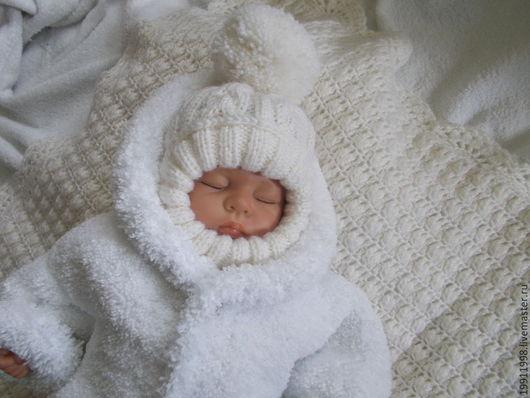 Для новорожденных, ручной работы. Ярмарка Мастеров - ручная работа. Купить Шапочка-шлем Волны аранов. Handmade. Белый