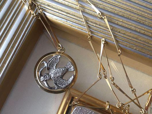 Винтажные украшения. Ярмарка Мастеров - ручная работа. Купить Винтаж! Кулон Голубка на цепочке, США. Handmade. Комбинированный, винтаж