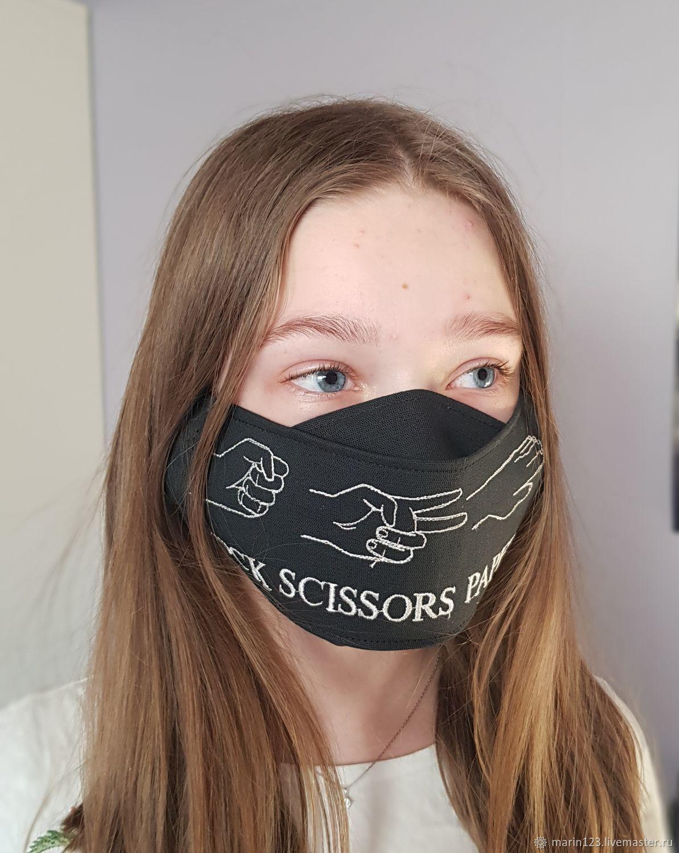 Маска с вышивкой Камень Ножницы Бумага – заказать на Ярмарке Мастеров – LJ8WURU | Защитные маски, Самара