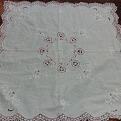 Винтаж handmade. Livemaster - original item Tablecloth with embroidery and bobbin lace,vintage Austria. Handmade.