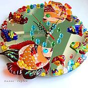 Для дома и интерьера ручной работы. Ярмарка Мастеров - ручная работа часы из стекла, фьюзинг  Судак  -  Тудак. Handmade.