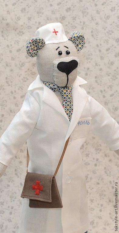 Игрушки животные, ручной работы. Ярмарка Мастеров - ручная работа. Купить Миша Доктор. Handmade. Белый, доктор, американский хлопок