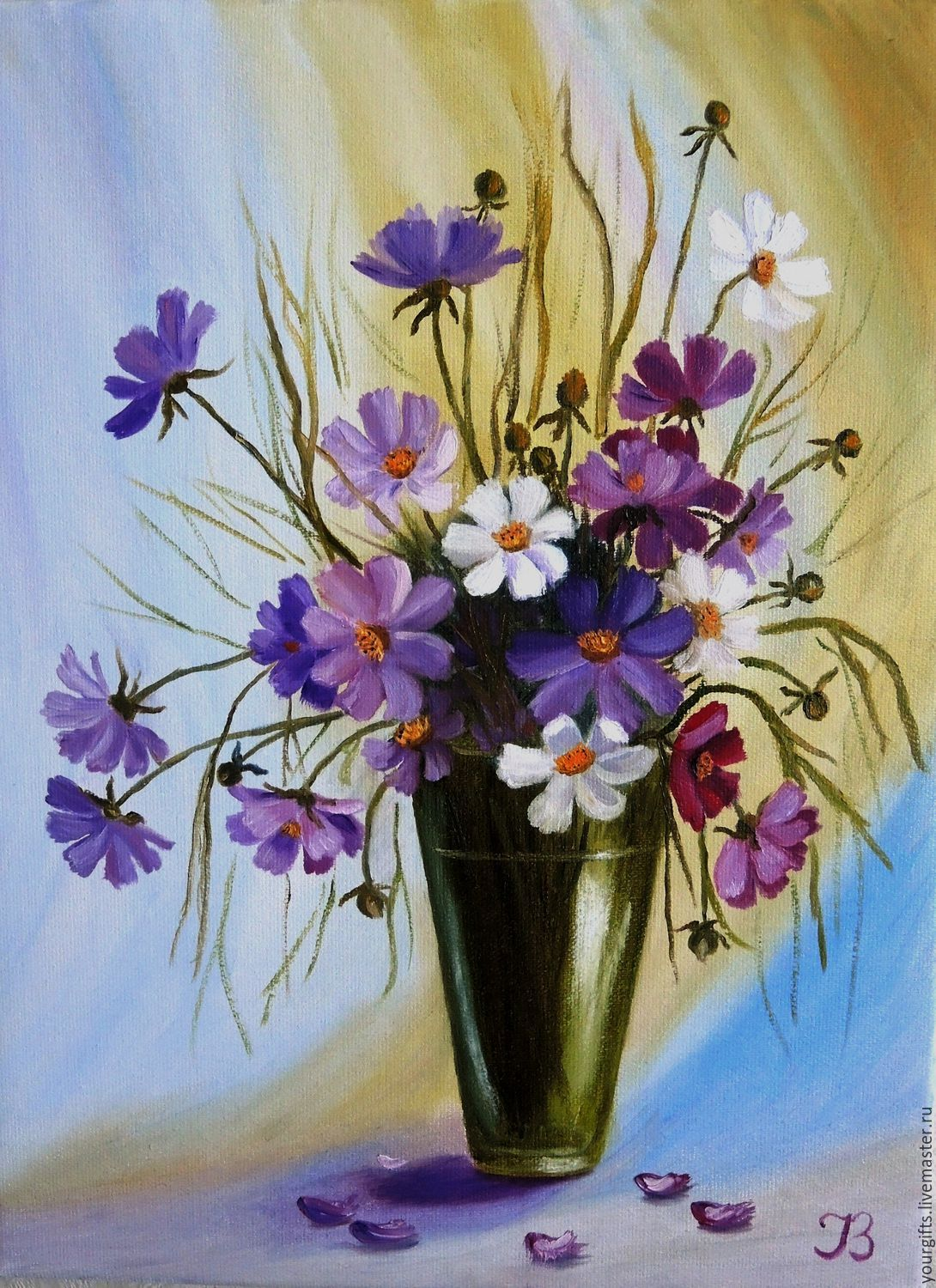 Bouquet of cosmos oil painting flowers in a vase shop for Flower paintings on canvas