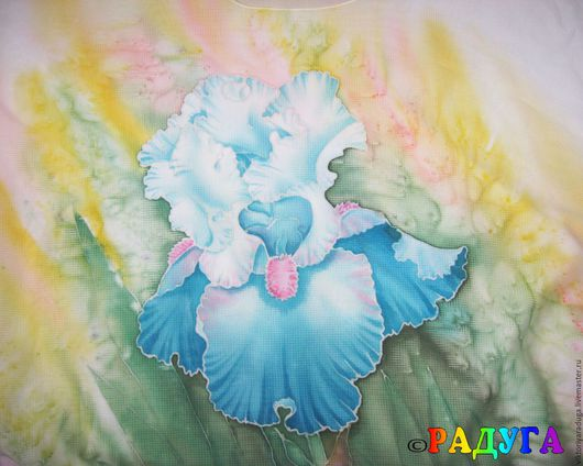"""Блузки ручной работы. Ярмарка Мастеров - ручная работа. Купить Авторская блуза """"Необыкновенный ирис"""" - батик. Handmade. Бирюзовый"""
