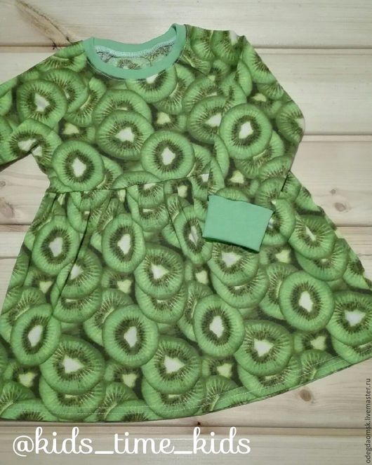 """Одежда для девочек, ручной работы. Ярмарка Мастеров - ручная работа. Купить платье """"киви"""" с длинным рукавом. Handmade. Ярко-зелёный"""