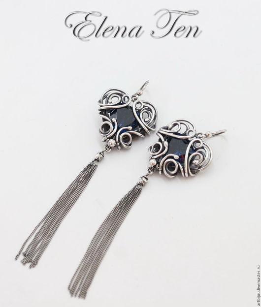 Серебряные серьги, серьги серебро, длинные серьги, длинные сережки, серьги с цепочками, серебряные длинные сережки, длинные серьги серебро, серьги с камнями, серьги на заказ