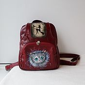 Сумки и аксессуары handmade. Livemaster - original item Leather backpack with custom painting and engraving for Catherine.. Handmade.