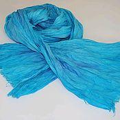 Аксессуары handmade. Livemaster - original item Linen turquoise scarf with lilac light long hand dyeing. Handmade.