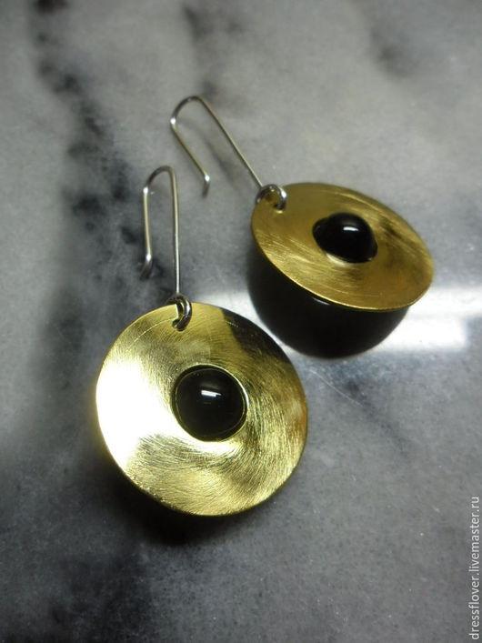 Серьги ручной работы. Ярмарка Мастеров - ручная работа. Купить серьги с позолотой Диск Солнца, из серебра и латуни. Handmade. Золотой