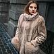 Укороченная куртка из меха норки и рыси. Oversize - большой размер,т.е. свободного покроя. Большой ворот стойка,мягкая,можно откладывать и делать
