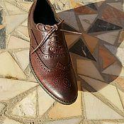 Обувь ручной работы. Ярмарка Мастеров - ручная работа Броггированные Оксфорды. Handmade.