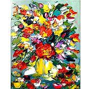 Картины ручной работы. Ярмарка Мастеров - ручная работа Картина Букетик в жёлтой вазе, холст, масло,30х24. Handmade.