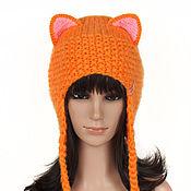 Аксессуары handmade. Livemaster - original item The cap with ears Fox SLI, womens knitted red. Handmade.