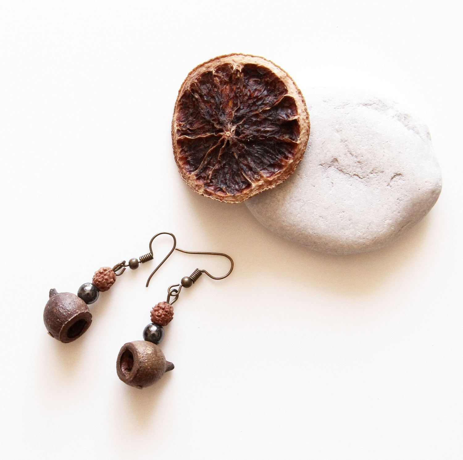 Ethno catkins with eucalyptus seed pods, hematite and Rudraksha, Earrings, St. Petersburg,  Фото №1