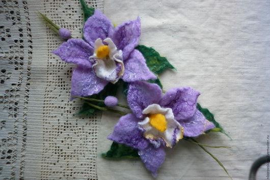 Броши ручной работы. Ярмарка Мастеров - ручная работа. Купить Брошка валяная из шерсти Нежность орхидеи. Handmade. Сиреневый