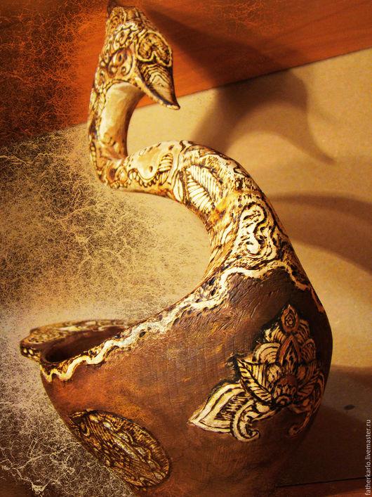 """Сувениры ручной работы. Ярмарка Мастеров - ручная работа. Купить Ковш """"Ладья"""" деревянный. Handmade. Коричневый, авторская работа"""