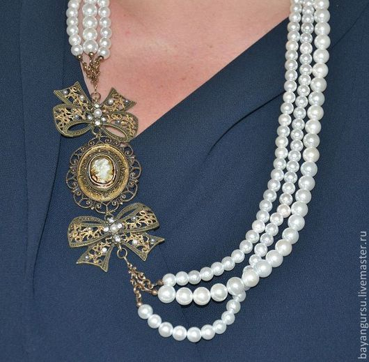 """Колье, бусы ручной работы. Ярмарка Мастеров - ручная работа. Купить """" Письма на французском"""" ожерелье. Handmade. Камея, фарфор"""