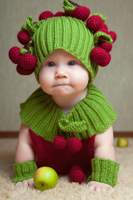Для новорожденных, ручной работы. Ярмарка Мастеров - ручная работа. Купить шапочка и шарф с вишней. Handmade. Шапочка и шарф с вишней