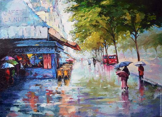 Город ручной работы. Ярмарка Мастеров - ручная работа. Купить Дождь на улице. Handmade. Синий, дождливый, город, масляная живопись