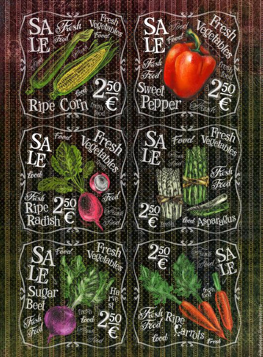 Декупаж и роспись ручной работы. Ярмарка Мастеров - ручная работа. Купить Свежие овощи (CPD0537) - рисовая бумага, А3. Handmade.