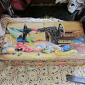 """Для дома и интерьера ручной работы. Ярмарка Мастеров - ручная работа Купюрница """"Для рукодельницы"""" декупаж шкатулка для денег. Handmade."""