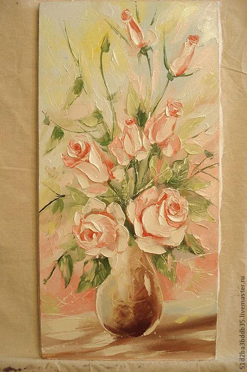 Картины цветов ручной работы. Ярмарка Мастеров - ручная работа. Купить Букетик роз. Handmade. Бледно-розовый, картина для интерьера
