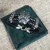 Украшения handmade. Livemaster - original item Pitbull leather bracelet made of nickel silver. Handmade.