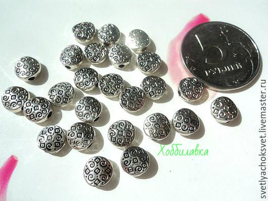 Бусины металлические Таблеточки  ажурные Античное серебро Диаметр 6 мм Толщина 3 мм Отверстие  1 мм
