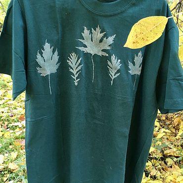 """Одежда ручной работы. Ярмарка Мастеров - ручная работа Футболка """"Ботаника"""" тёмно-зелёная. Handmade."""