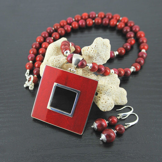 Колье, бусы ручной работы. Ярмарка Мастеров - ручная работа. Купить Колье из красного коралла с серебром 925 пробы. Handmade.