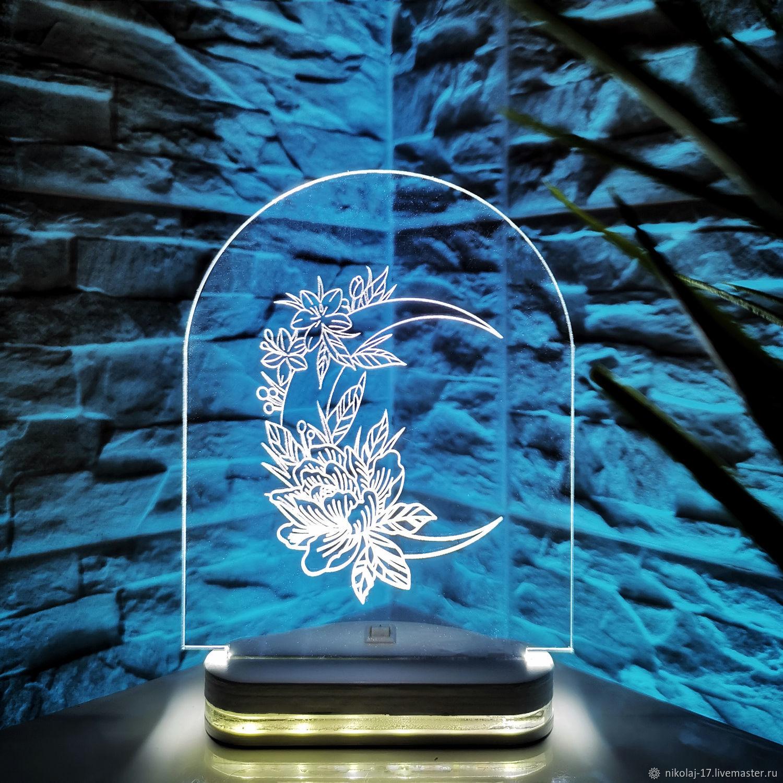 Night light 'Moon Flowers' / Lamp / 3D night light, Composition, Yaroslavl,  Фото №1