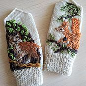 Аксессуары handmade. Livemaster - original item Mittens and scarf Pushkin`s fairy Tales hand embroidered baby knitting. Handmade.