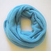 Шарфы ручной работы. Ярмарка Мастеров - ручная работа Снуд вязаный из кид-мохера (голубой в бирюзу). Handmade.