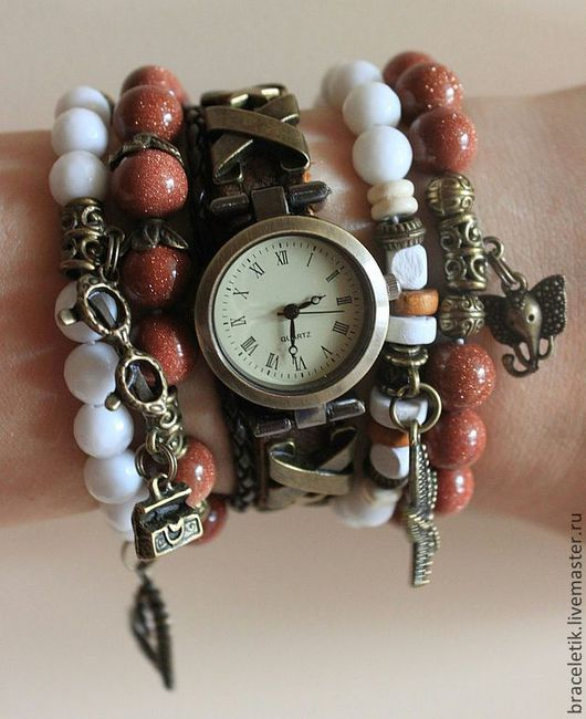 Браслеты ручной работы. Ярмарка Мастеров - ручная работа. Купить Сет браслетов с часами ВОЯЖ. Handmade. Коричневый, часы наручные